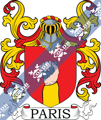 Paris Family Crest, Coat of Arms and Name History